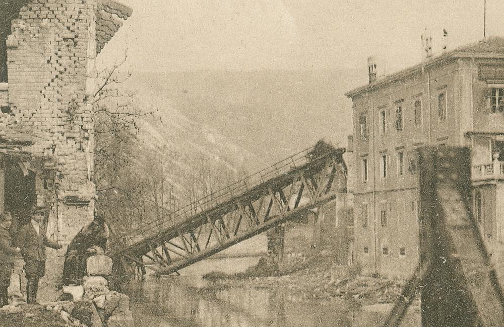 Rijeka (Fiume) 1920. Krvavi Božić. Porušeni željeznički most preko Rječine